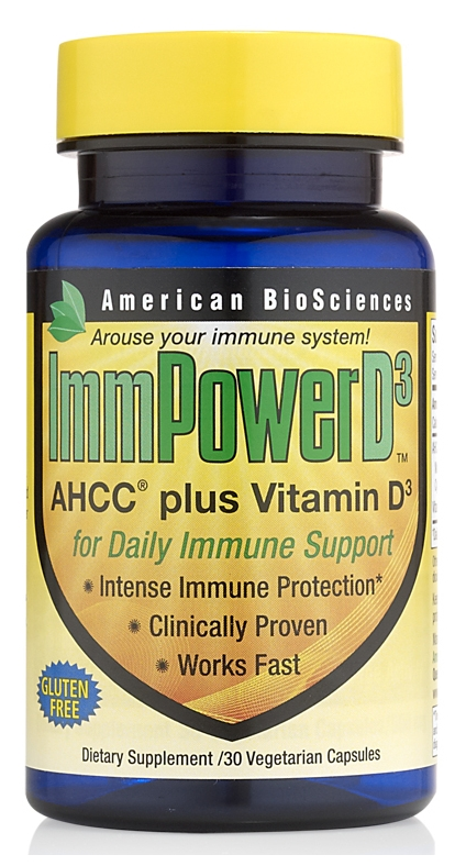 ImmPower D3 AHCC plus Vitamin D3 30 vege caps by American Biosciences
