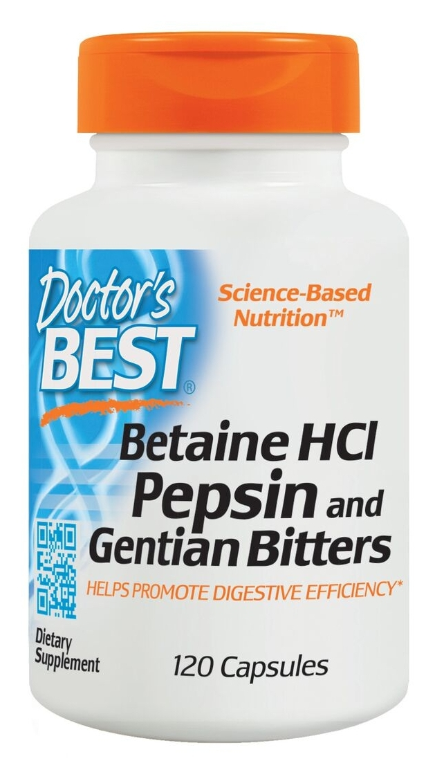 Betaine HCL Pepsin & Gentian Bitters 120 Caps by Doctor's Best