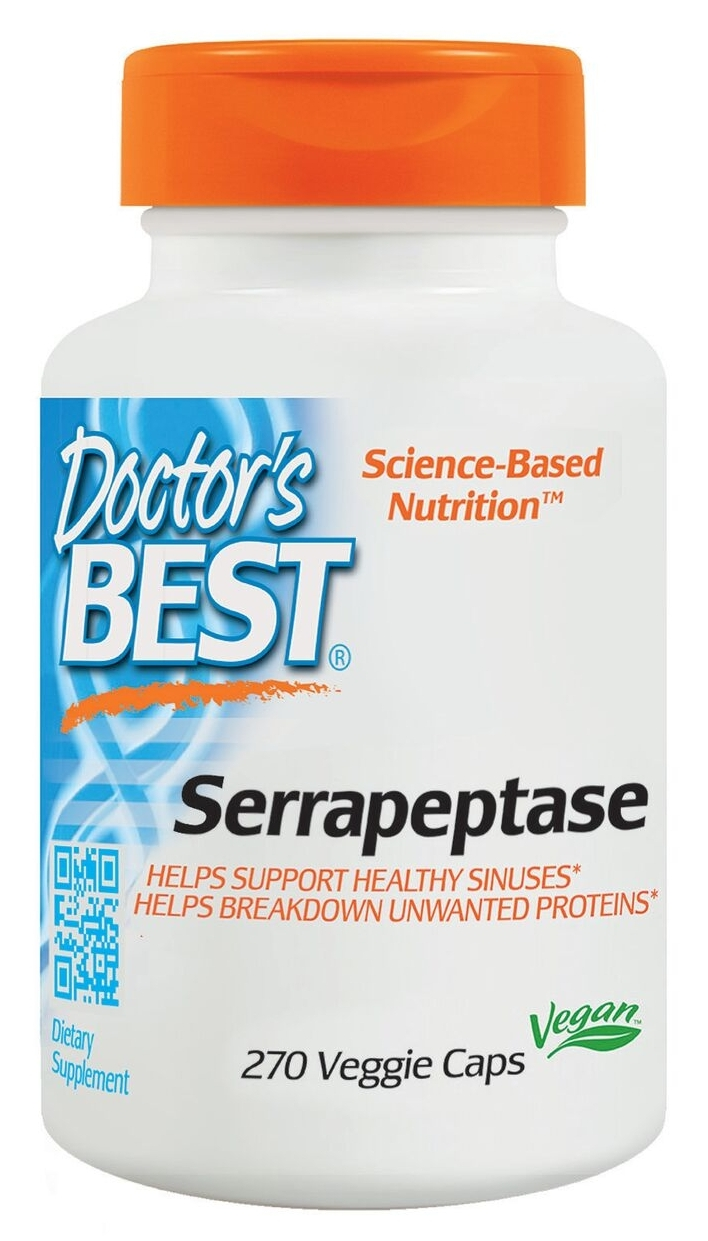 Best Serrapeptase 40,000 Units 270 Veggie Caps by Doctor's Best