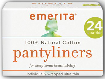 Natural Cotton Ultra-Thin Pantyliners 24 ct by Emerita