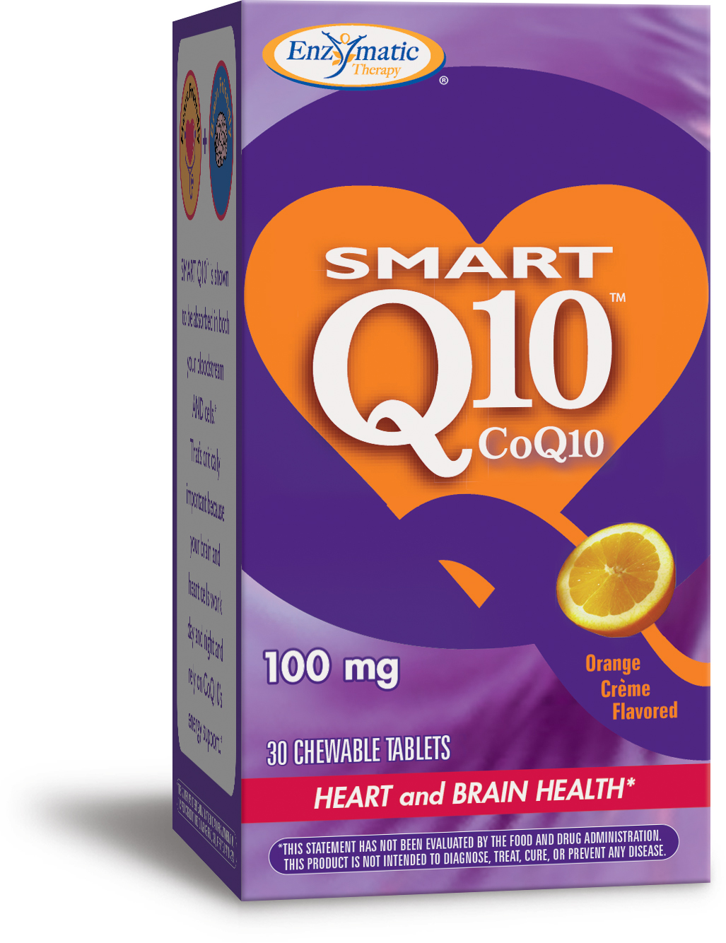 Smart Q10 Orange Creme Flavor 100 mg 30 Chewable tabs by Enzymatic Therapy
