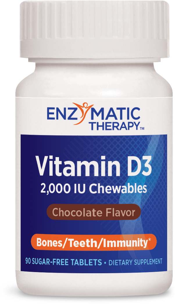 Vitamin D3 Chewables 2,000 IU Chocolate 90 Chewable tabs by Enzymatic Therapy