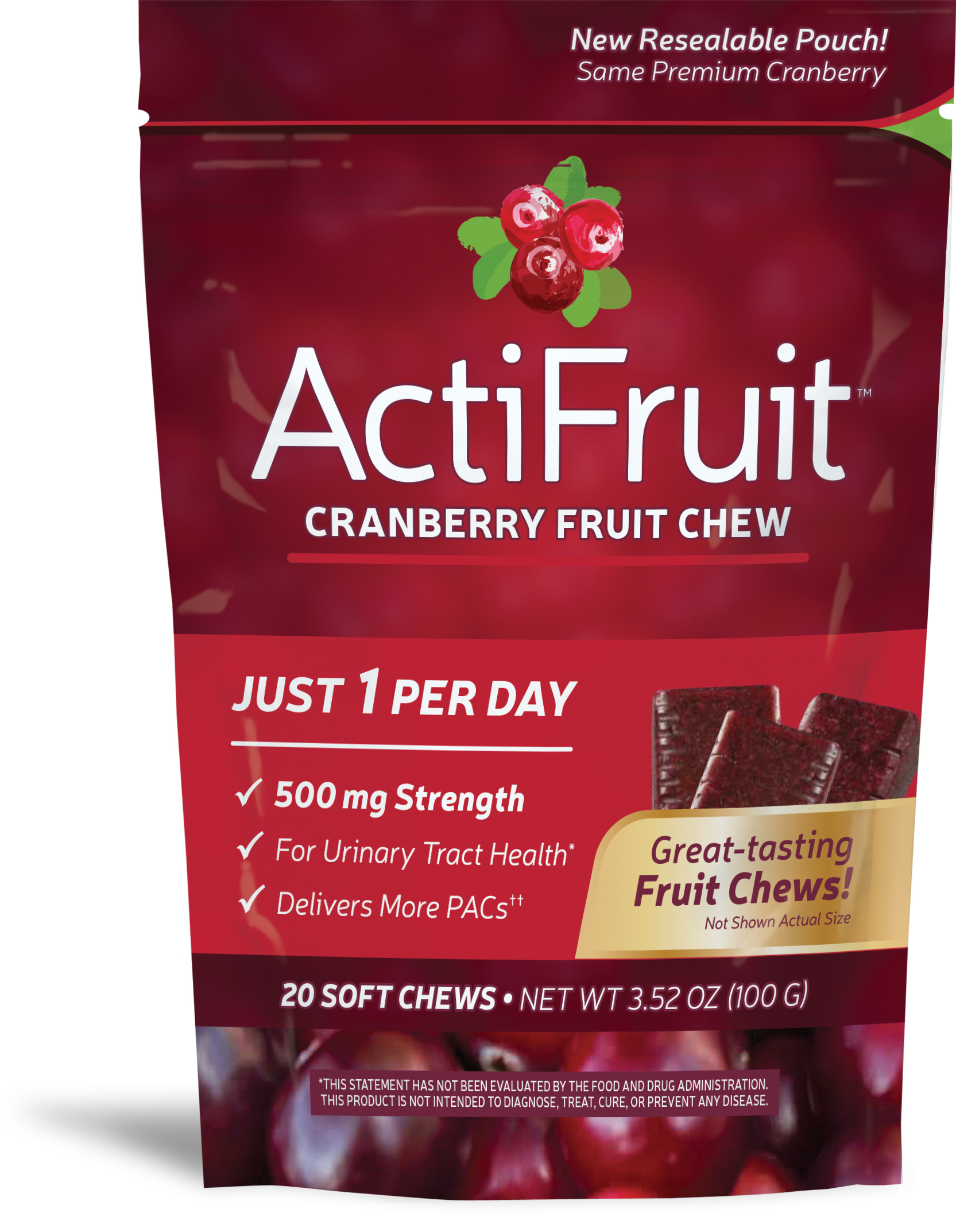 ActiFruit Cranberry Supplement 20 Soft Chews by Enzymatic Therapy