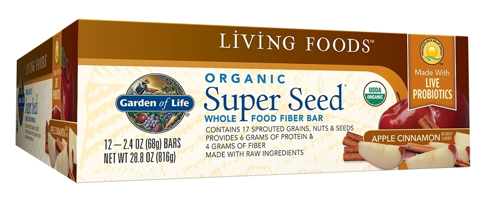 Super Seed Whole Food Fiber Bar Apple Cinnamon 12 Bars by Garden of Life