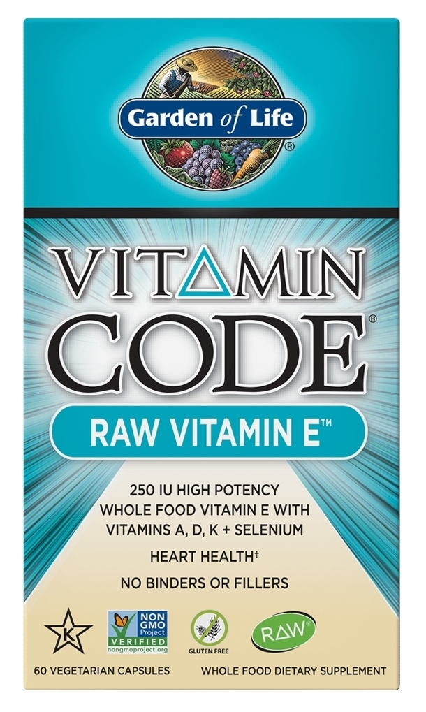 Vitamin Code Raw Vitamin E 60 Vegan Capsules by Garden of Life