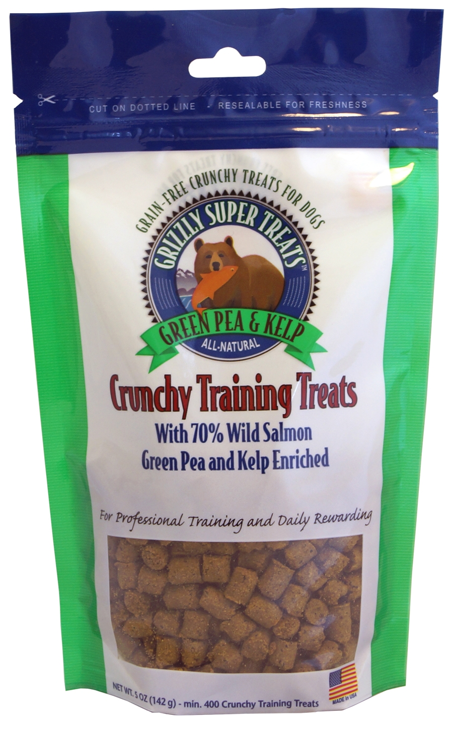 Grizzly Crunchy Training Treats for Dogs with Salmon, Green Pea & Kelp 5 oz
