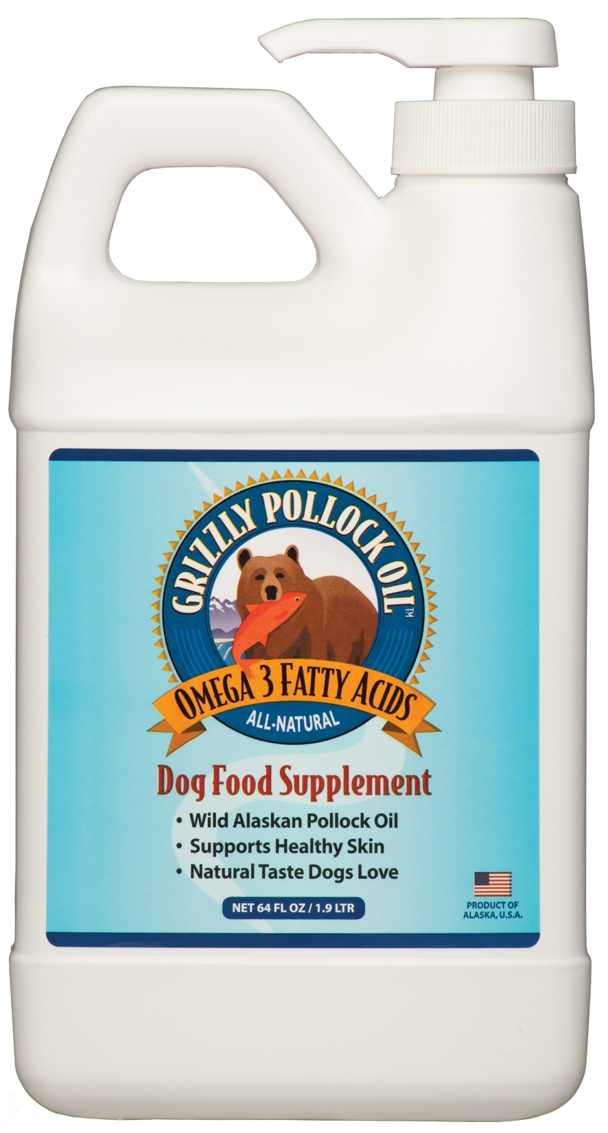 Grizzly Pollock Oil 64 oz (1.9 L) by Grizzly Pet Products