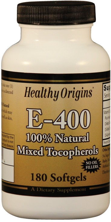 Vitamin E-400 (Natural  Mixed Tocopherols) 180 sgels by Healthy Origins