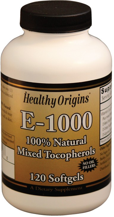 Vitamin E-1000 (Natural Mixed Tocopherols) 120 sgels by Healthy Origins