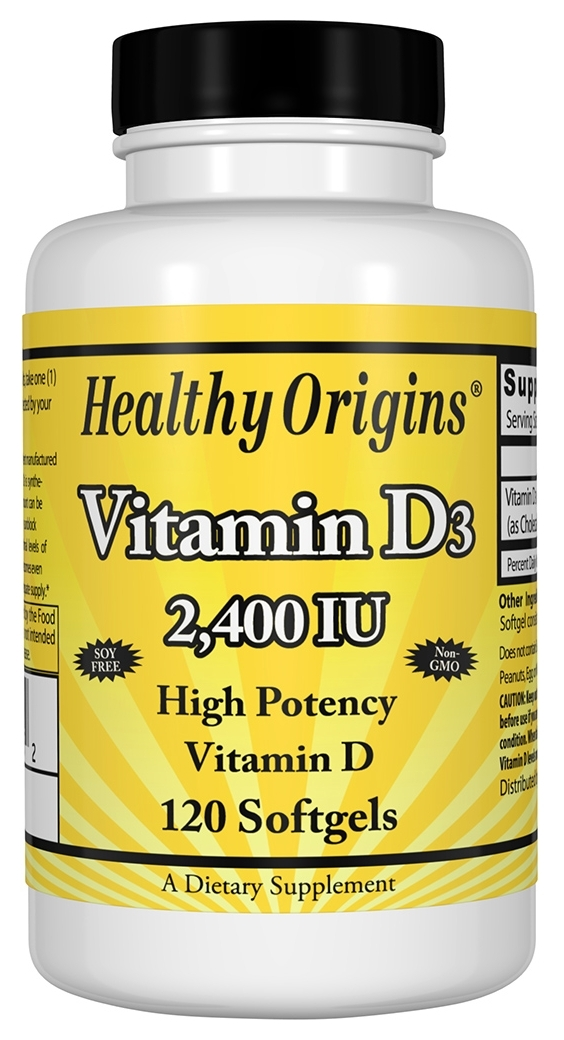 Vitamin D3 2,400 IU 120 sgels by Healthy Origins
