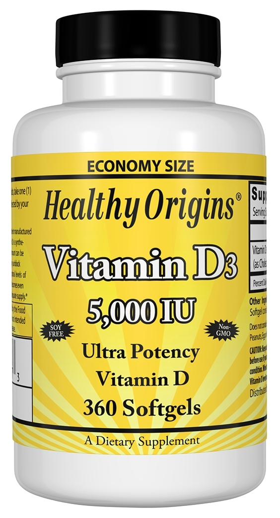 Vitamin D3 5,000 IU 360 sgels by Healthy Origins