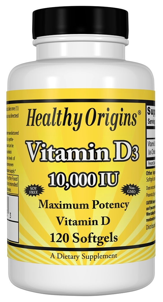 Vitamin D3 10,000 IU 120 sgels by Healthy Origins