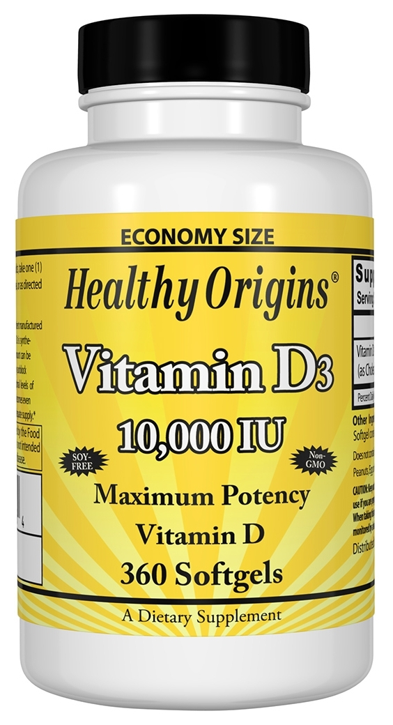 Vitamin D3 10,000 IU 360 sgels by Healthy Origins