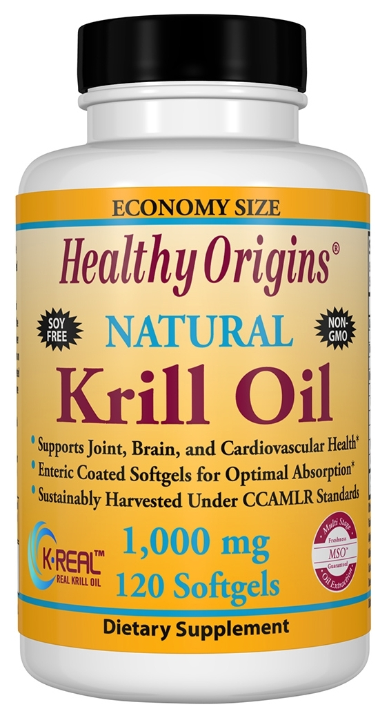 Krill Oil 1,000 mg 120 Enteric Coated sgels by Healthy Origins