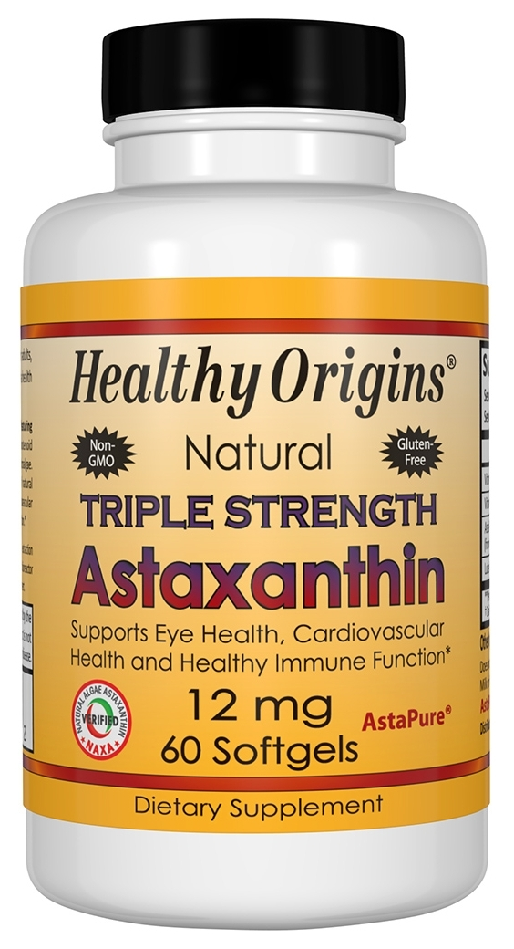 Astaxanthin 12 mg Triple Strength 60 sgels by Healthy Origins