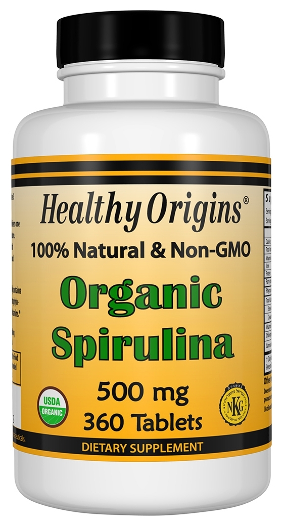 Organic Spirulina 500 mg 360 tabs by Healthy Origins