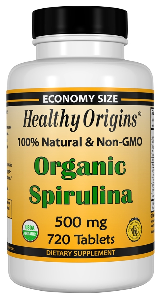 Organic Spirulina 500 mg 720 tabs by Healthy Origins