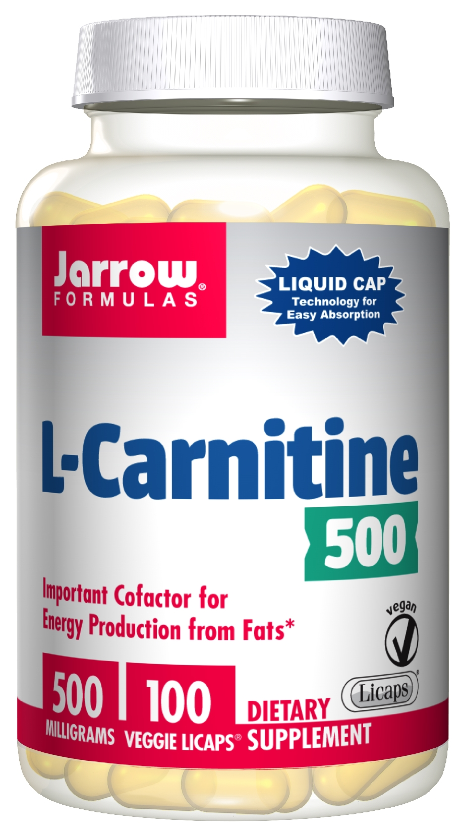 L-Carnitine Liquid Cap 500 mg 100 Vegetarian Licaps by Jarrow Formulas