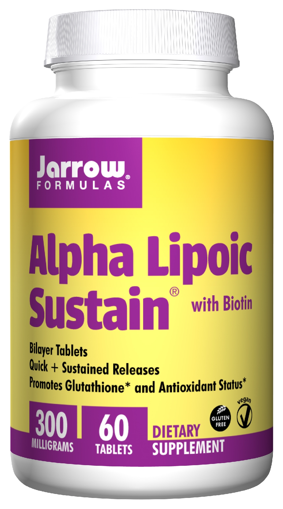 Alpha Lipoic Sustain 300 with Biotin 300 mg 60 Sustain tabs by Jarrow Formulas