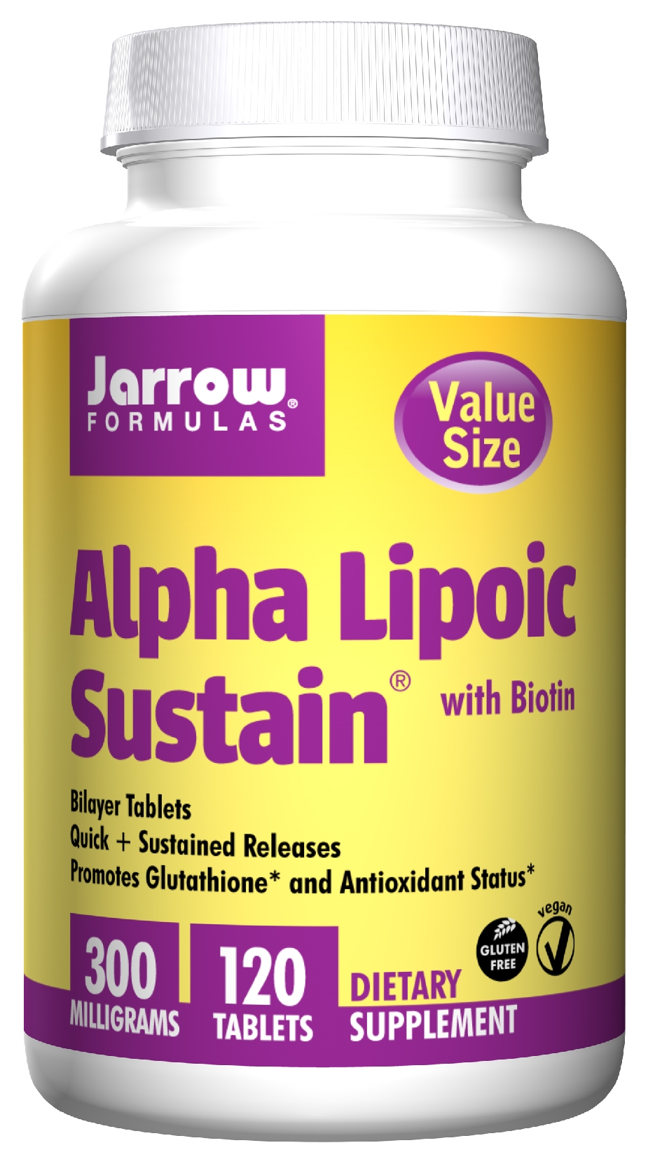 Alpha Lipoic Sustain 300 with Biotin 300 mg 120 Sustain tabs by Jarrow Formulas