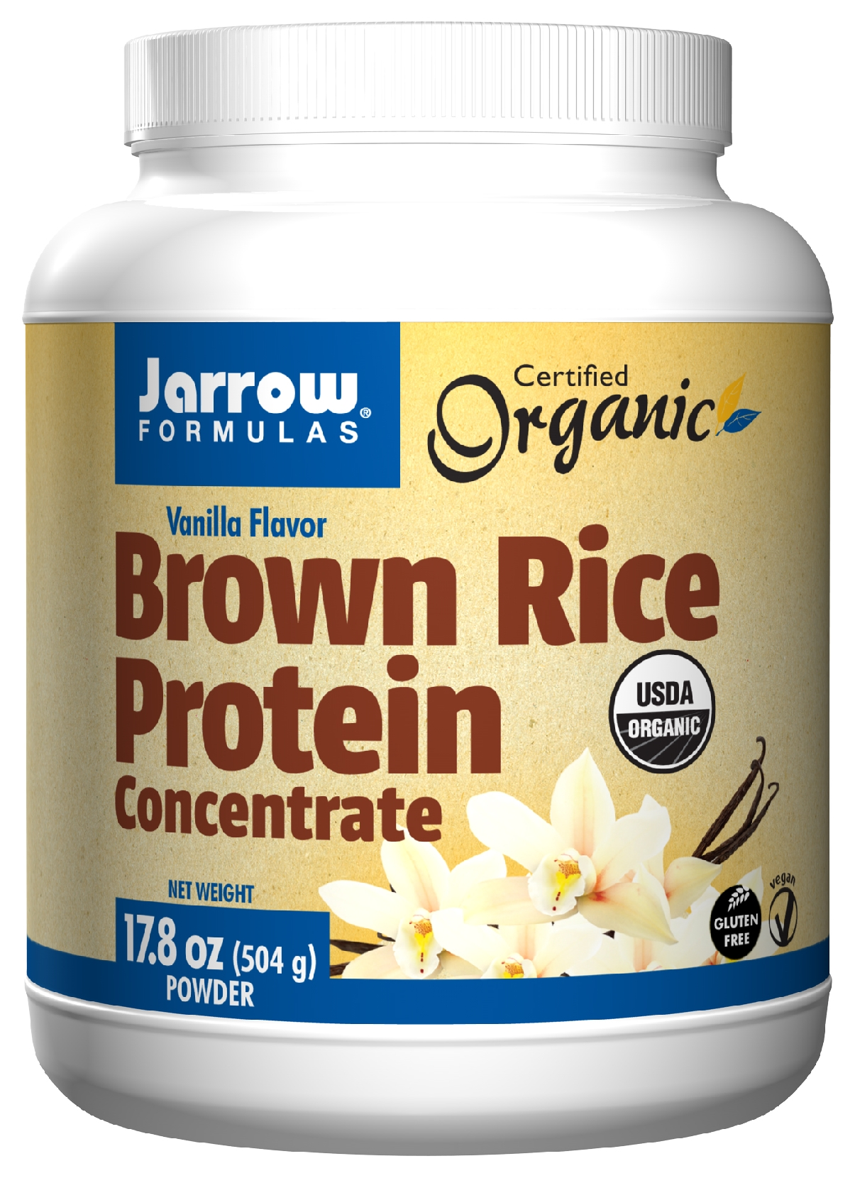 Brown Rice Protein Concentrate Vanilla Flavor 17.8 oz (504 g) by Jarrow Formulas