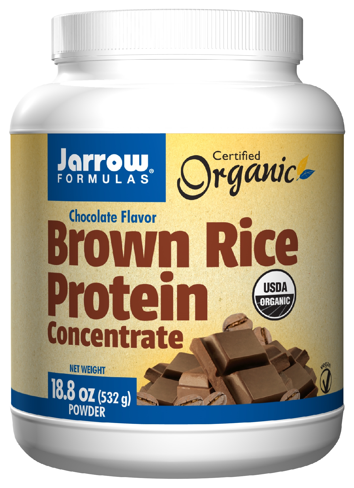 Brown Rice Protein Concentrate Chocolate Flavor 18.8 oz (532 g) by Jarrow Formulas