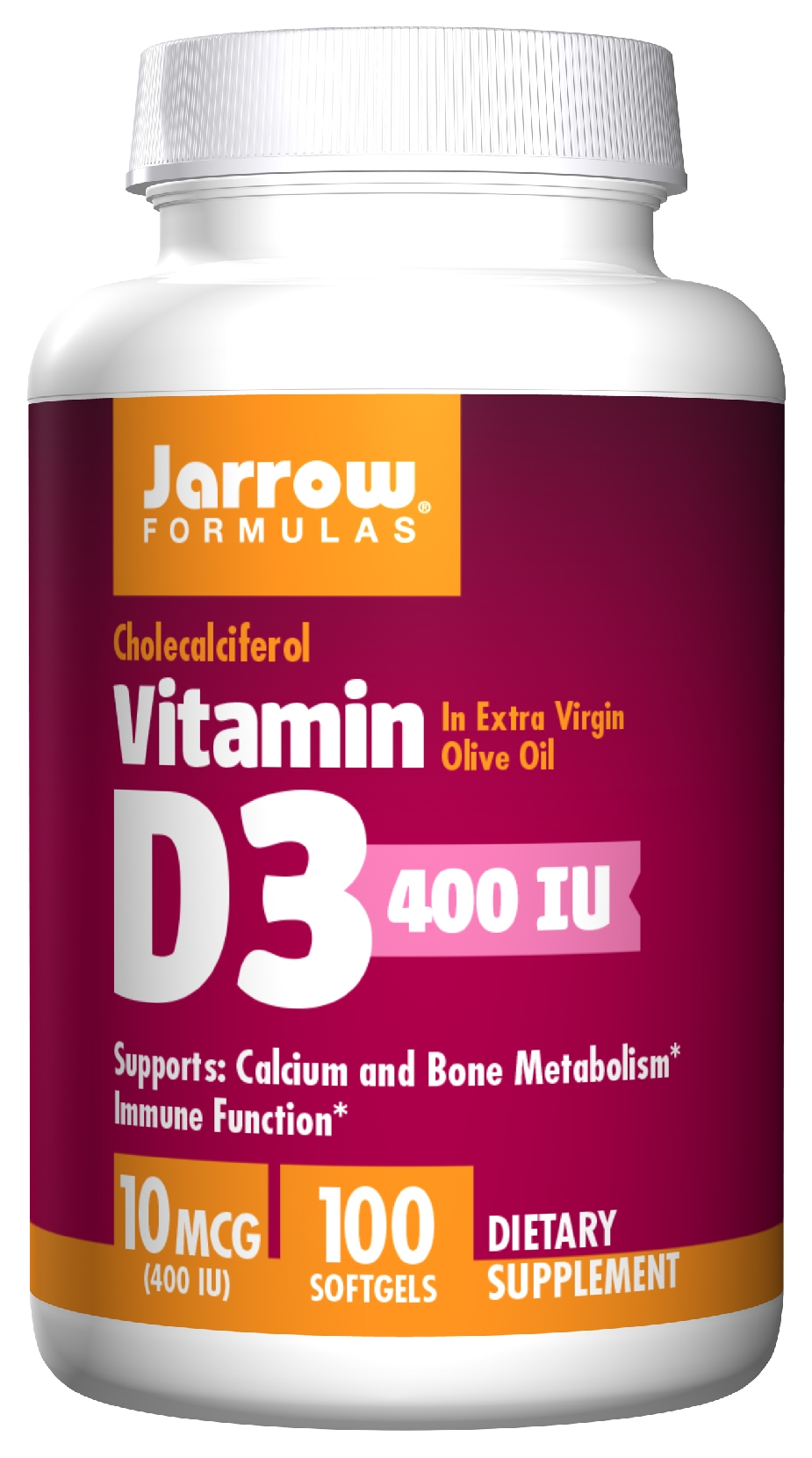 JARROW Formulas Vitamin D3 10 mcg (400 IU) 100 Softgels