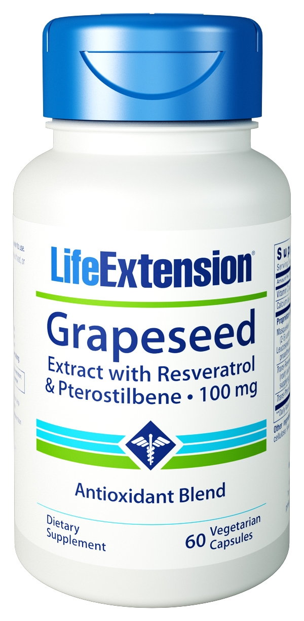 Grapeseed Extract with Resveratrol and Pterostilbene 100 mg 60 Vegetarian Caps