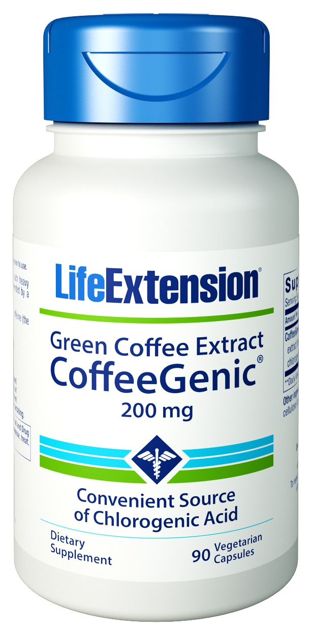 CoffeeGenic Green Coffee Extract  (with GCA) 200 mg 90 Vege caps by Life Extension