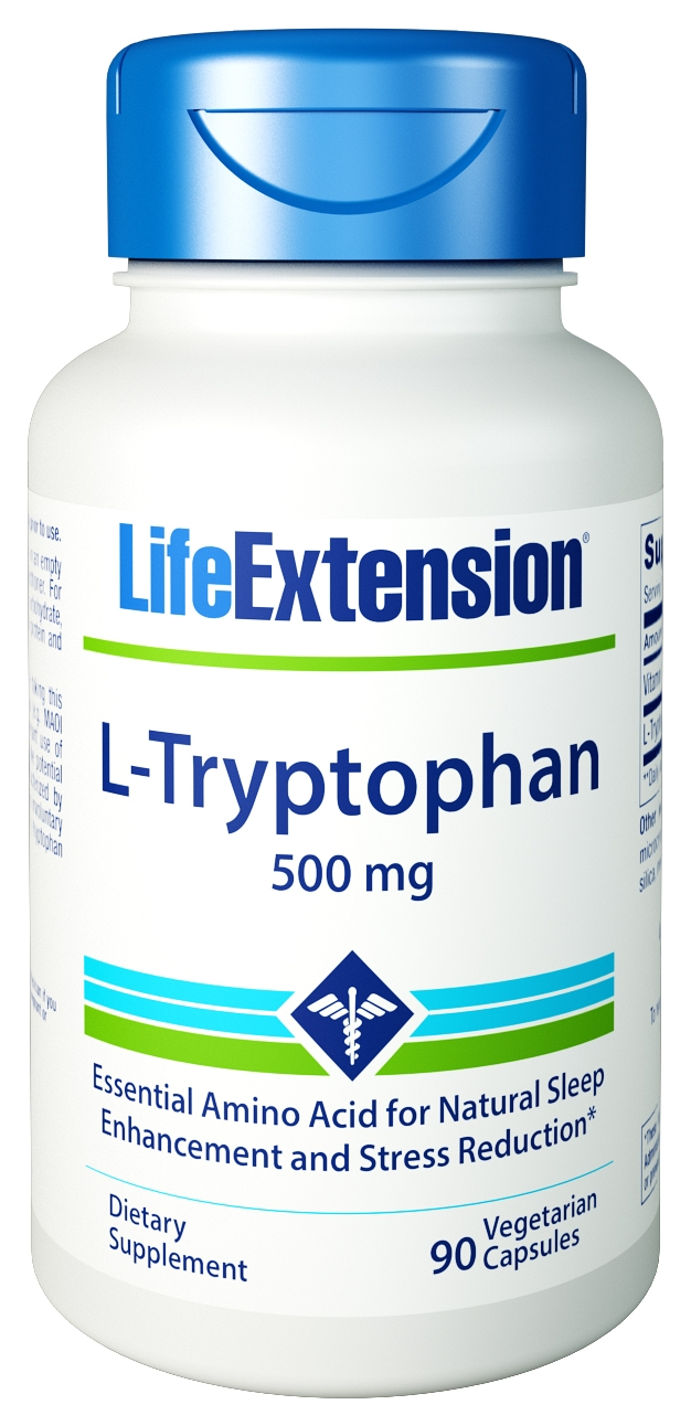 L-Tryptophan 500 mg 90 Vegetarian caps by Life Extension
