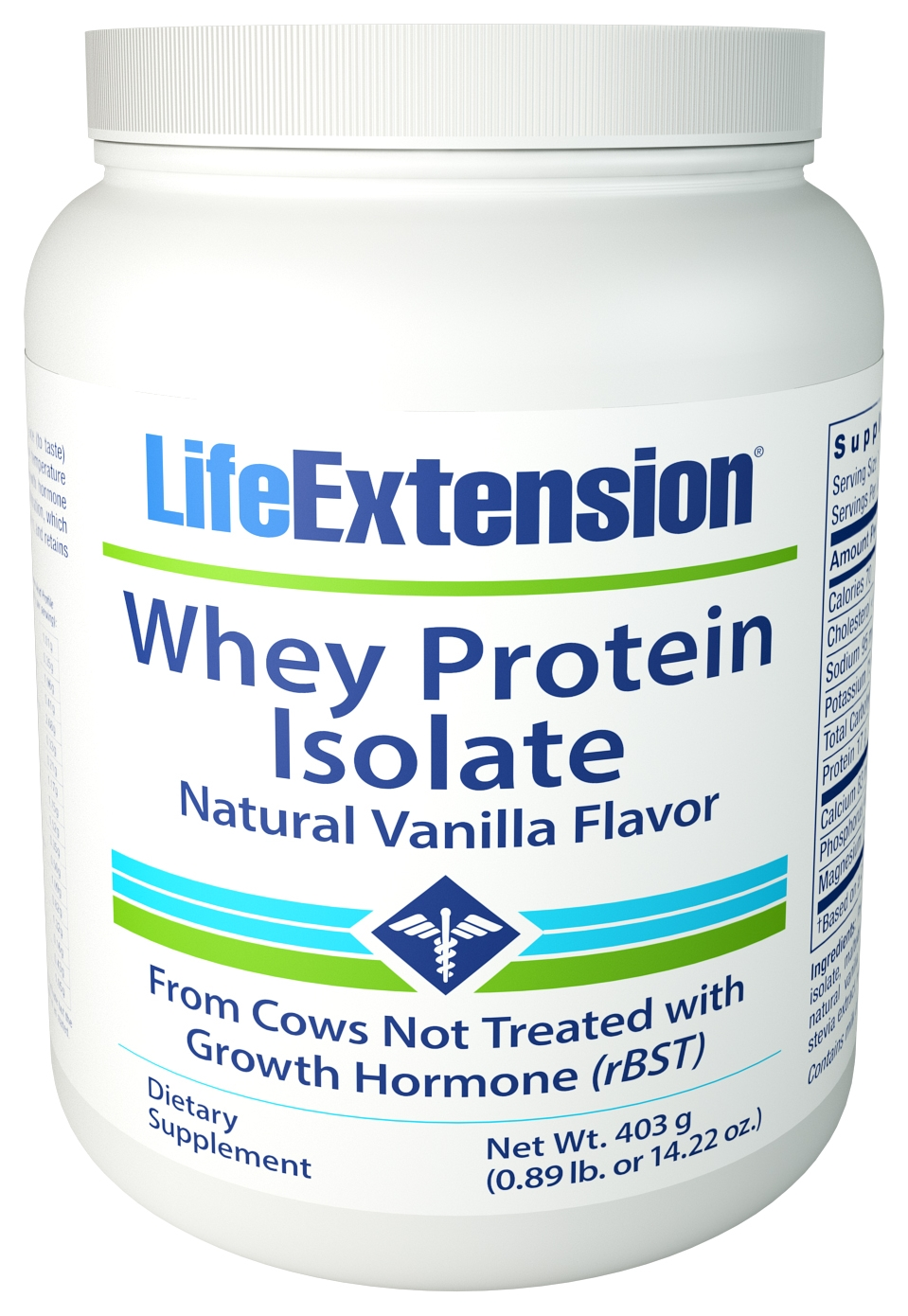 Whey Protein Isolate (Natural Vanilla Flavor) 454 g (1 lb) by Life Extension