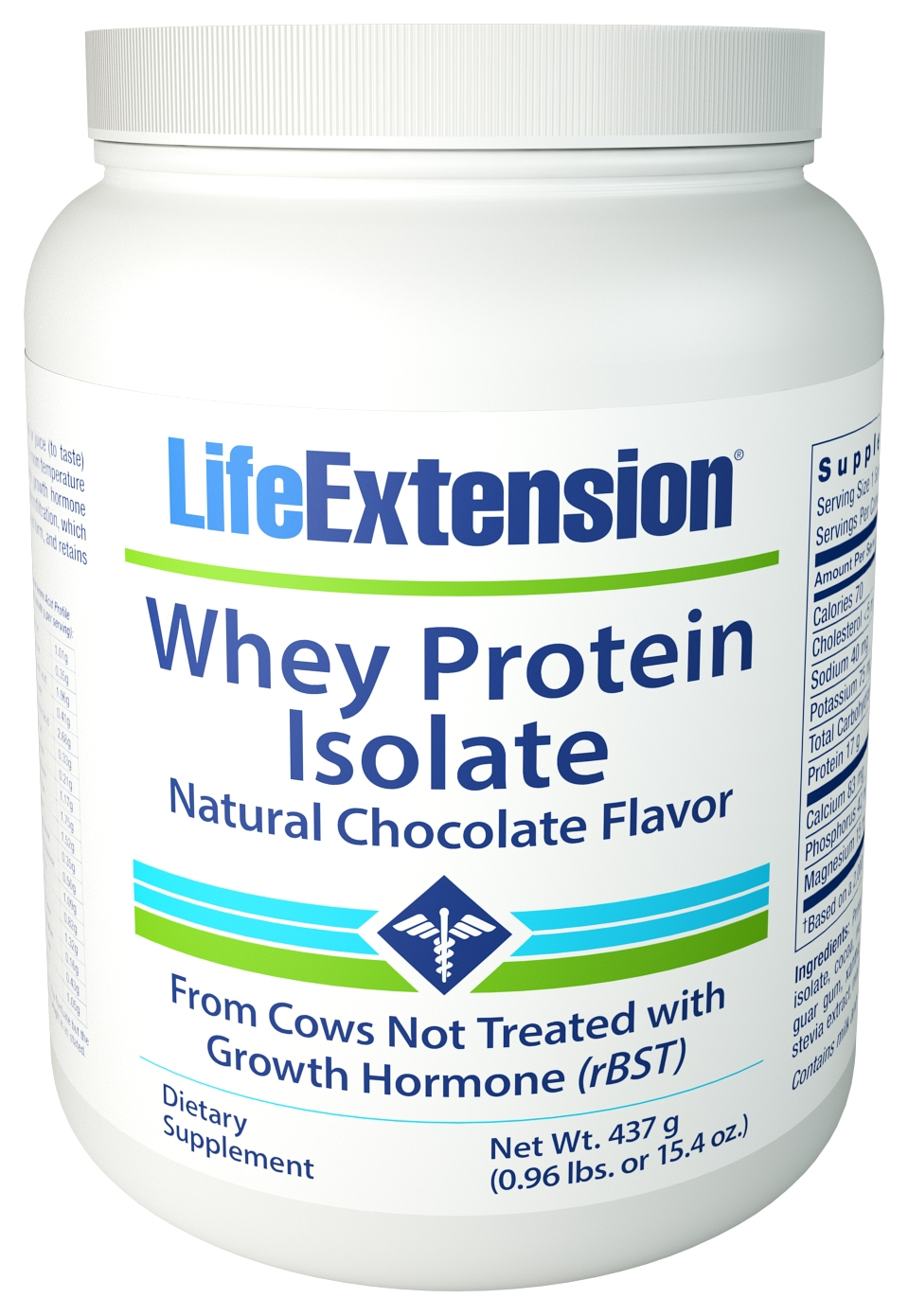 Whey Protein Isolate (Chocolate Flavor) 454 g (1 lb) by Life Extension