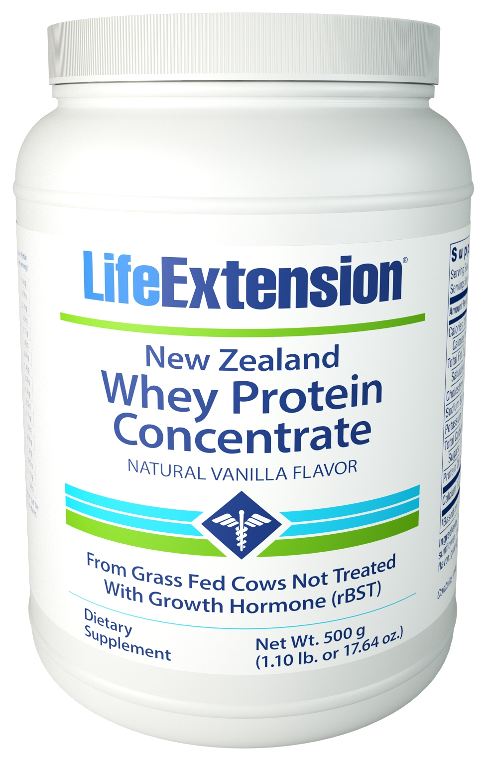 New Zealand Whey Protein Concentrate Natural Vanilla 520 g (1.15 lb) Life Extension