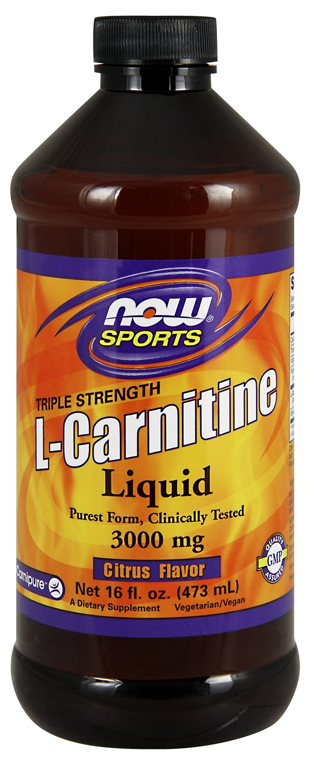 L-Carnitine Liquid 3000 mg Citrus Flavor 16 fl oz (473 ml) by NOW