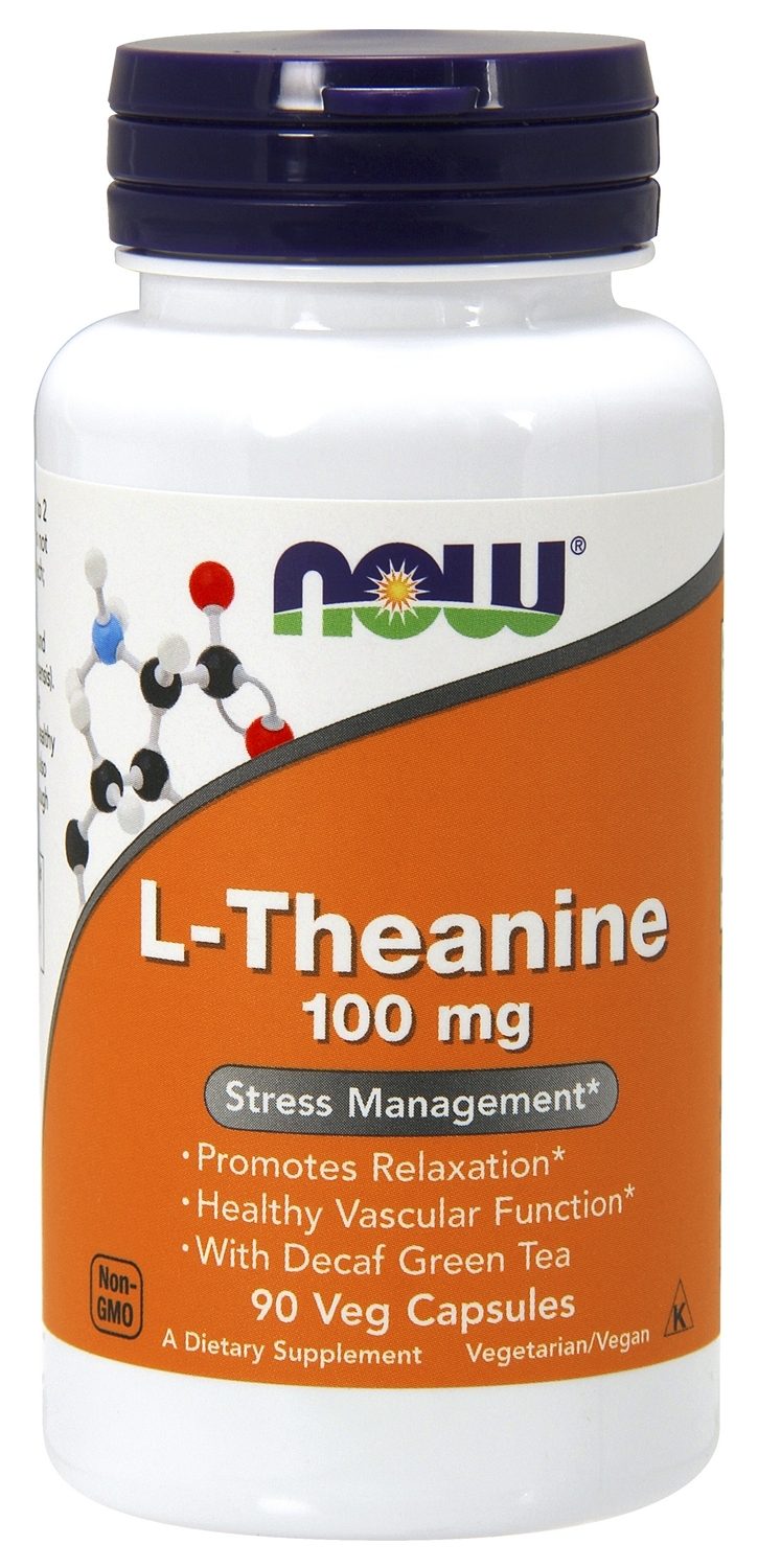 L-Theanine 100 mg with Decaffeinated Green Tea 90 Vcaps by NOW