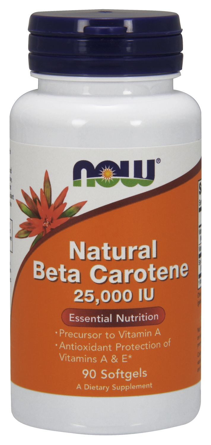 Natural Beta Carotene 25,000 IU 90 sgels by NOW