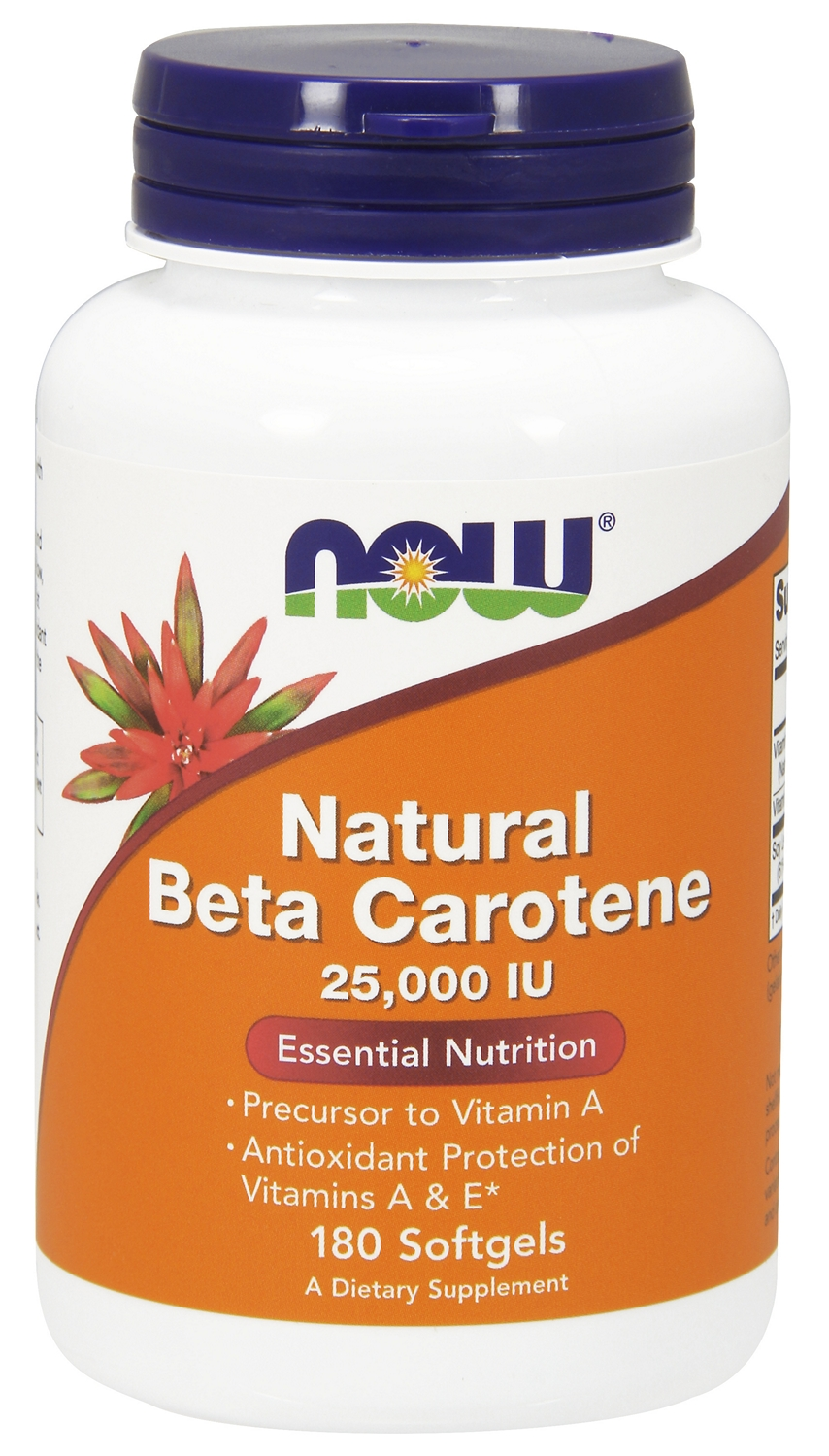 Natural Beta Carotene 25,000 IU 180 sgels by NOW