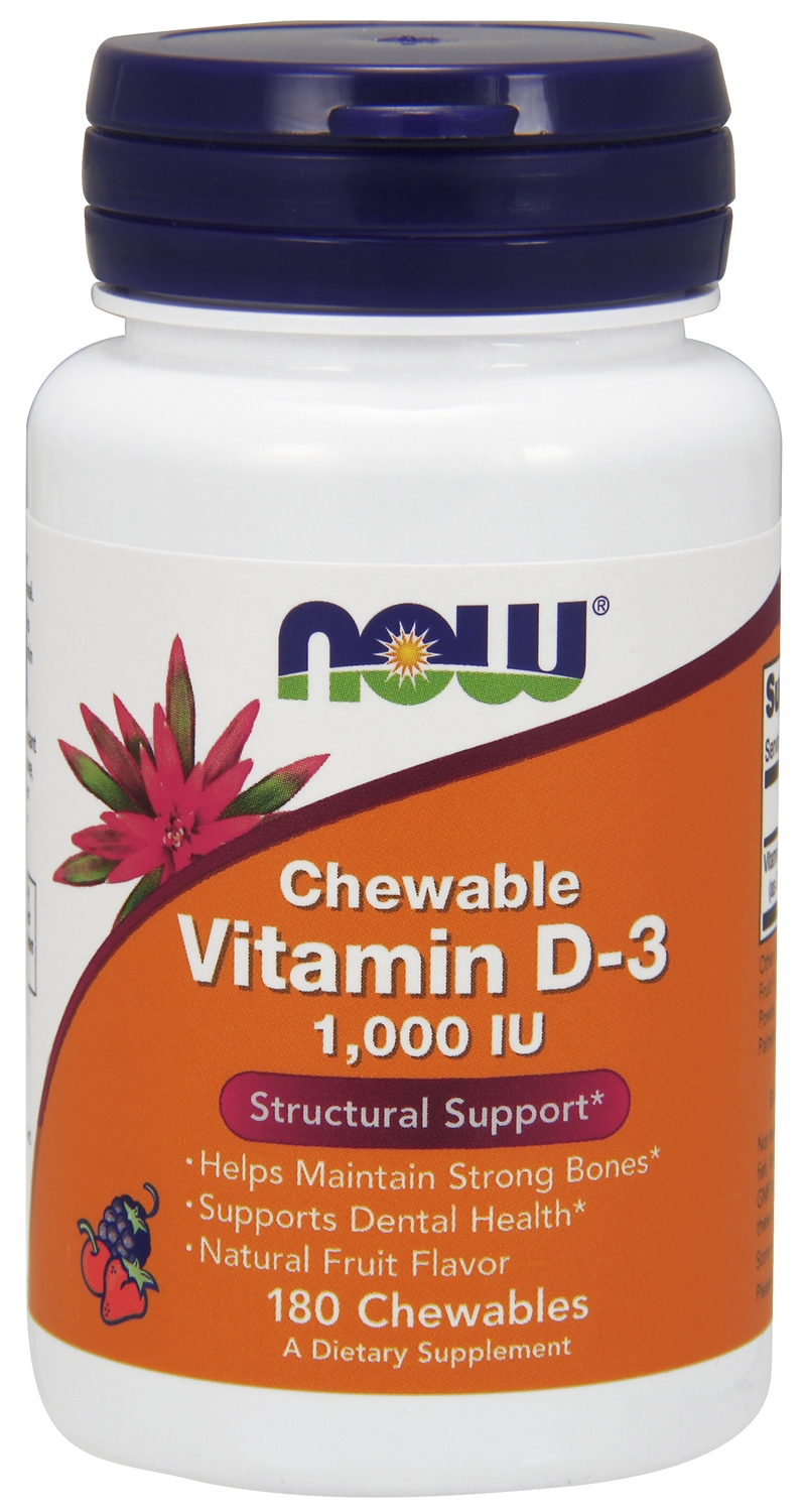 Vitamin D-3 1,000 IU Chewable Natural Fruit Flavor 180 Chewables by NOW