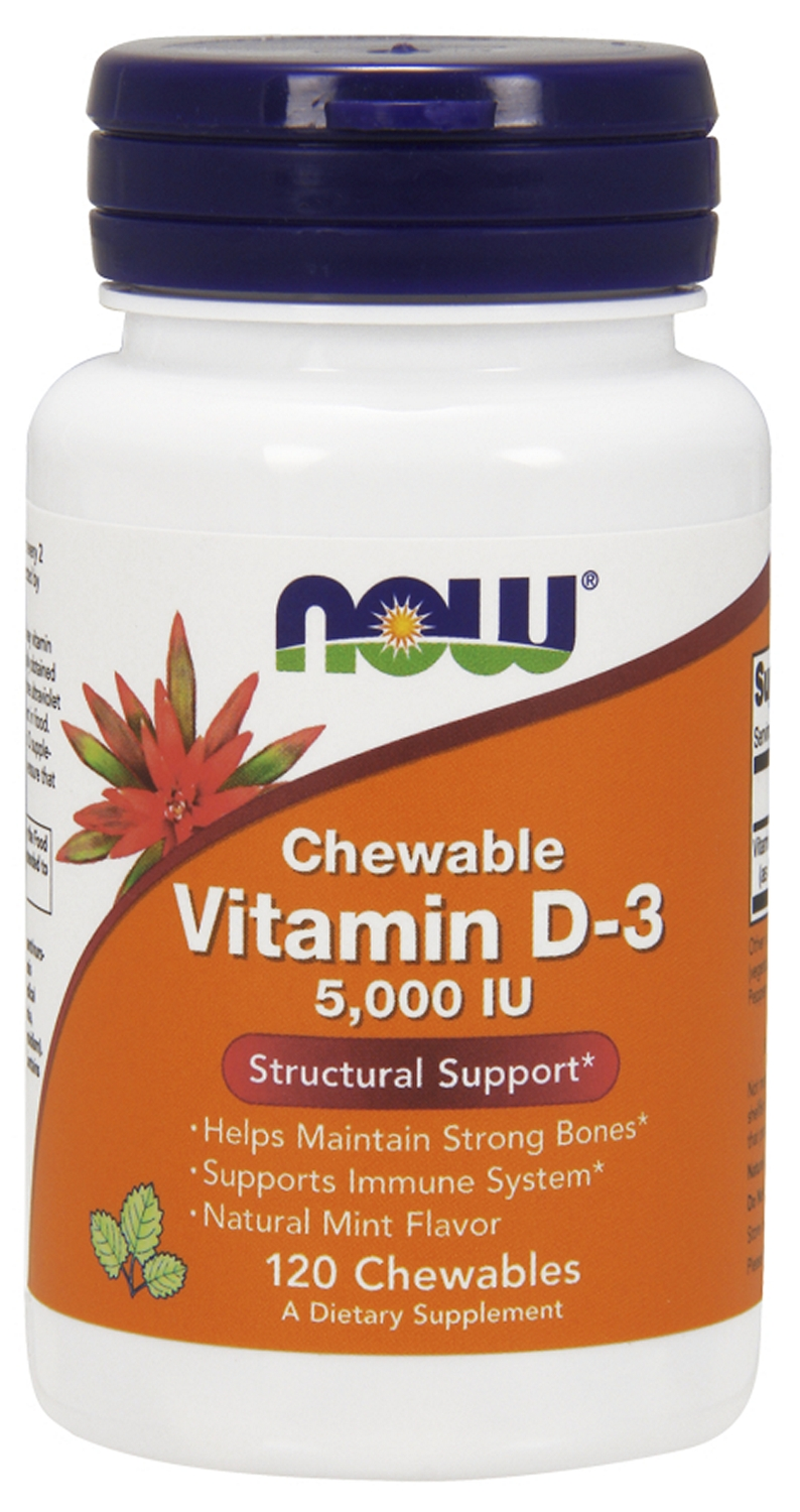 Vitamin D-3 5,000 IU Chewable Natural Mint Flavor 120 Chewables by NOW
