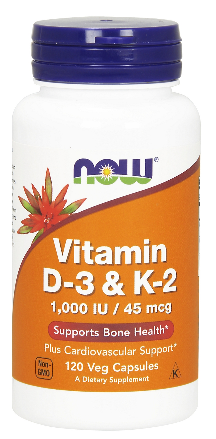 Vitamin D-3 & K-2 1,000 IU / 45 mcg 120 Vcaps by NOW