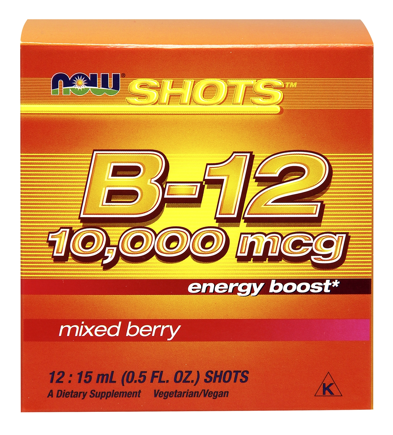 B-12 10,000 mcg Mixed Berry 0.5 fl oz (15 ml) Shot 12 Shots by NOW