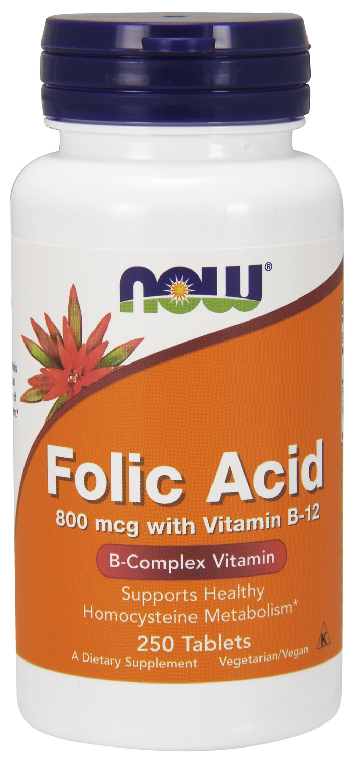 Folic Acid with Vitamin B-12 800 mcg 250 tabs by NOW