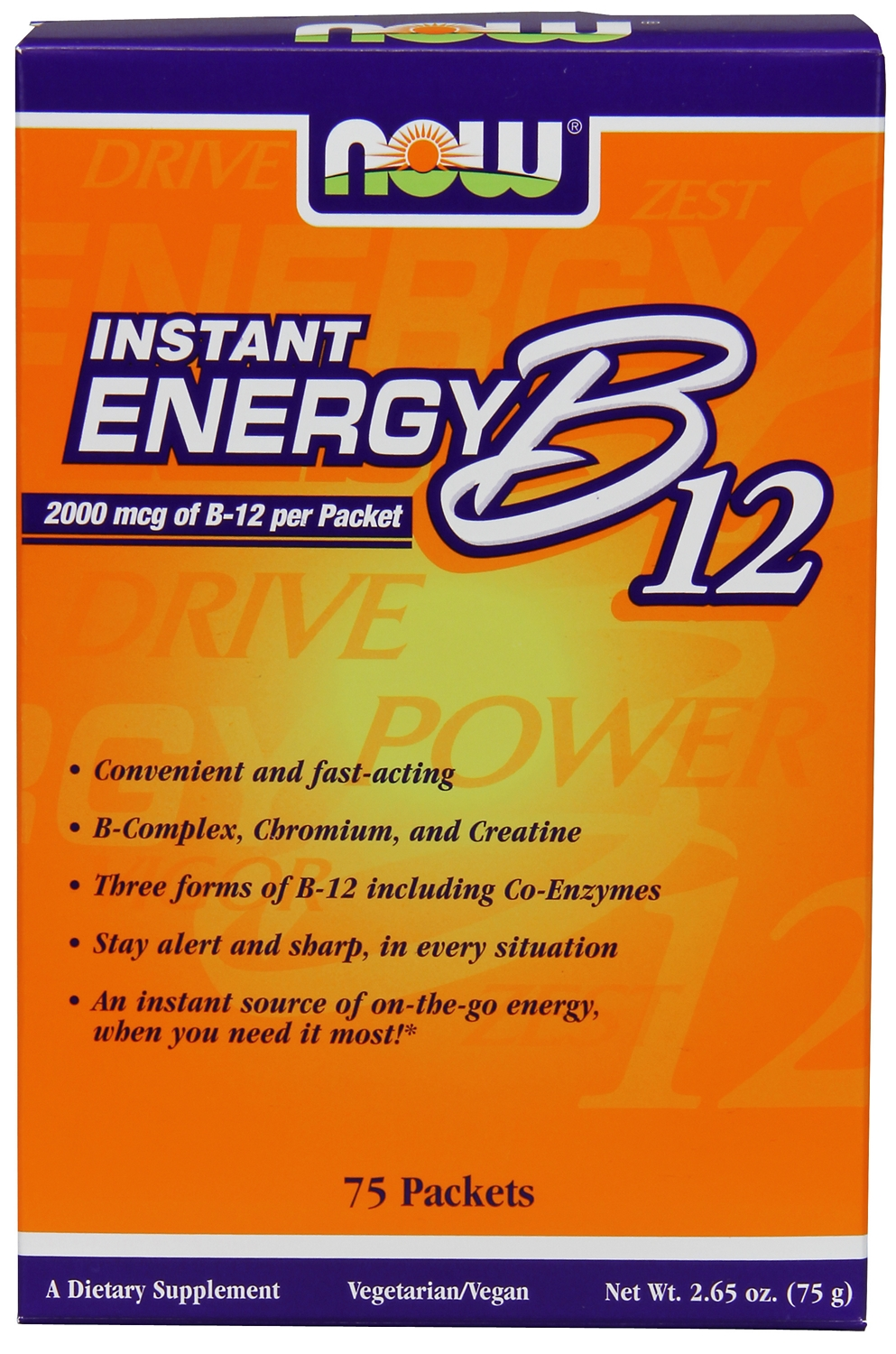 Instant Energy B-12 2,000 mcg 75 packs by NOW