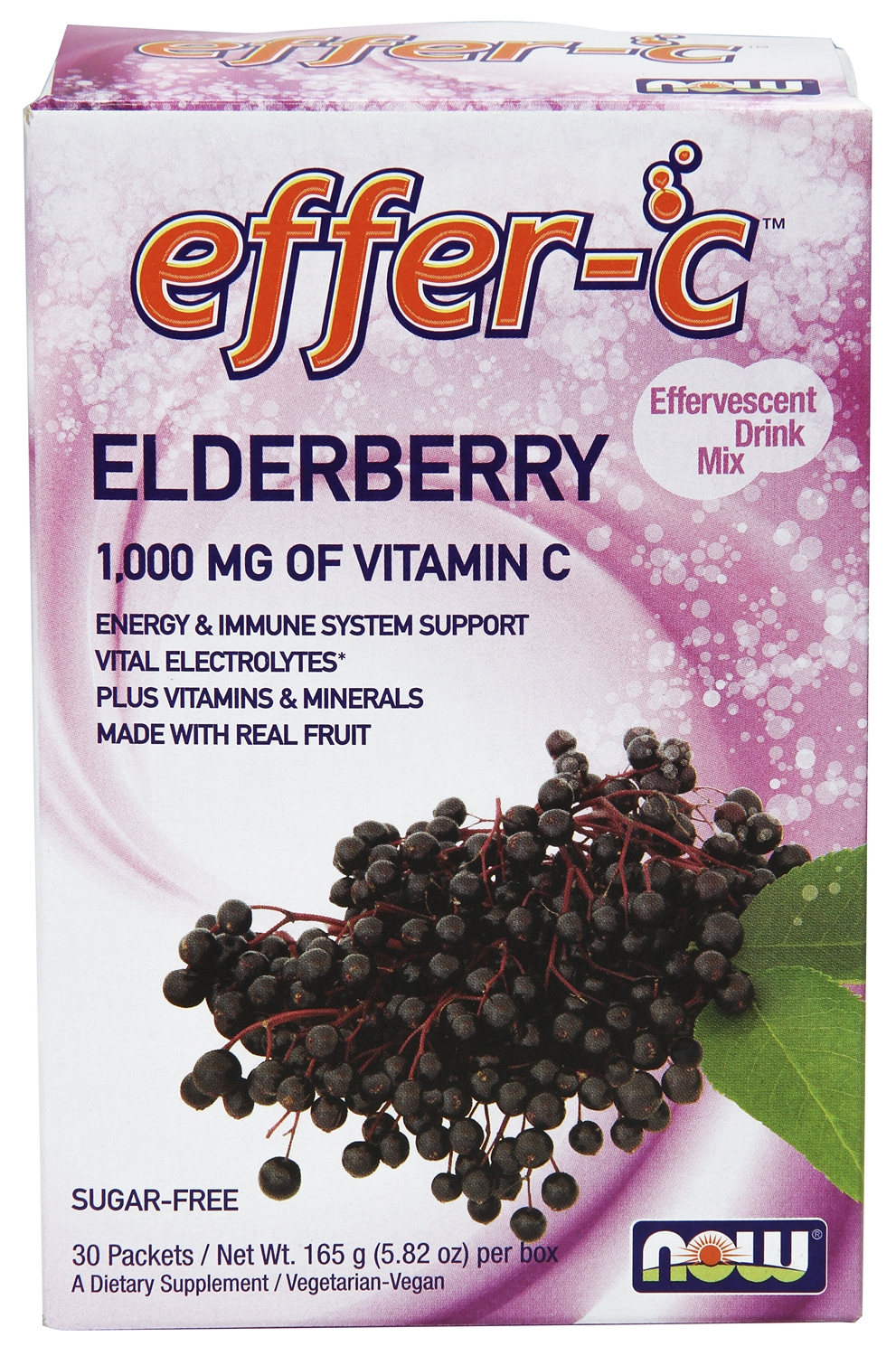Effer-C Elderberry 30 Packets by NOW Foods