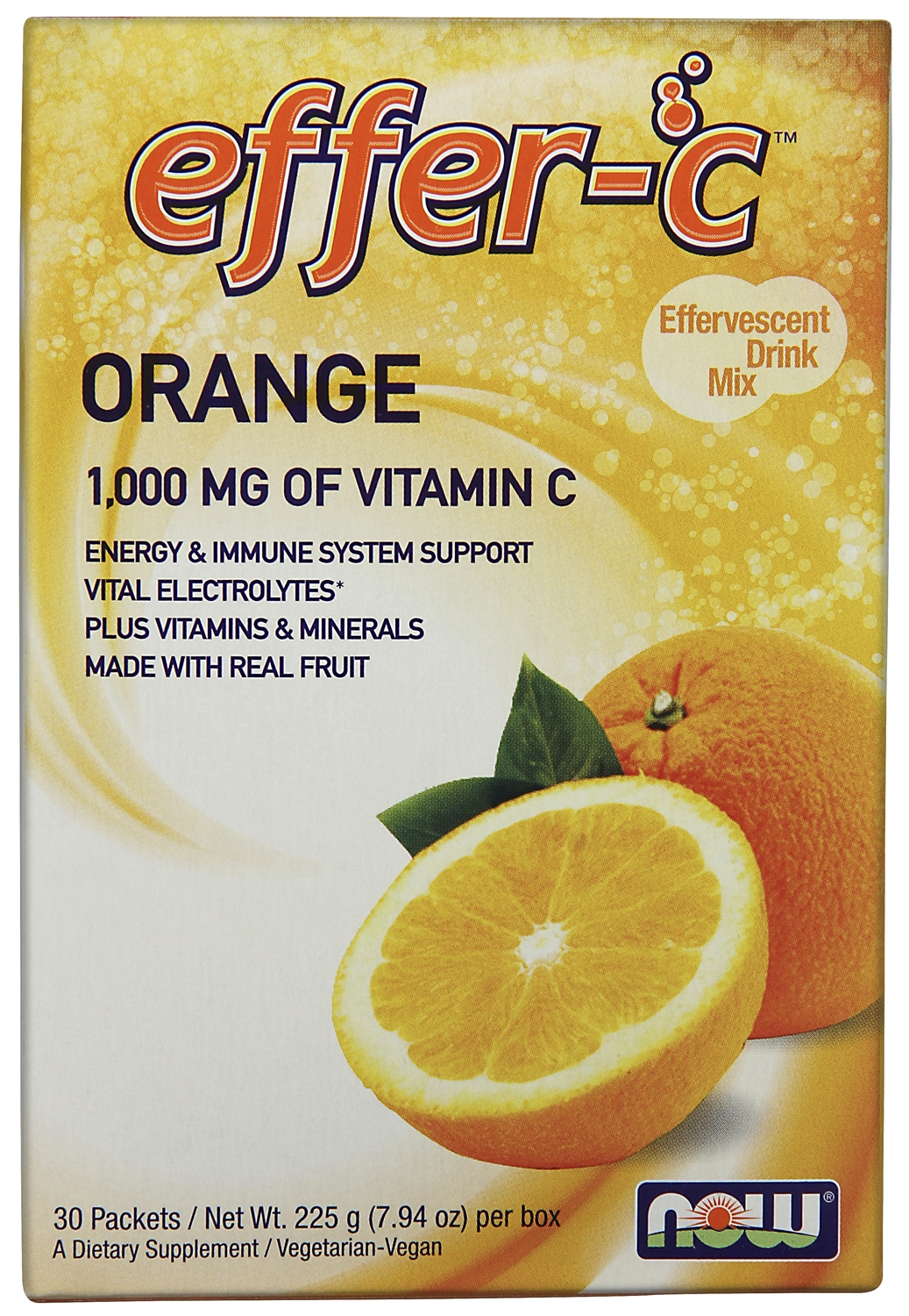 Effer-C Orange 30 Packets by NOW Foods
