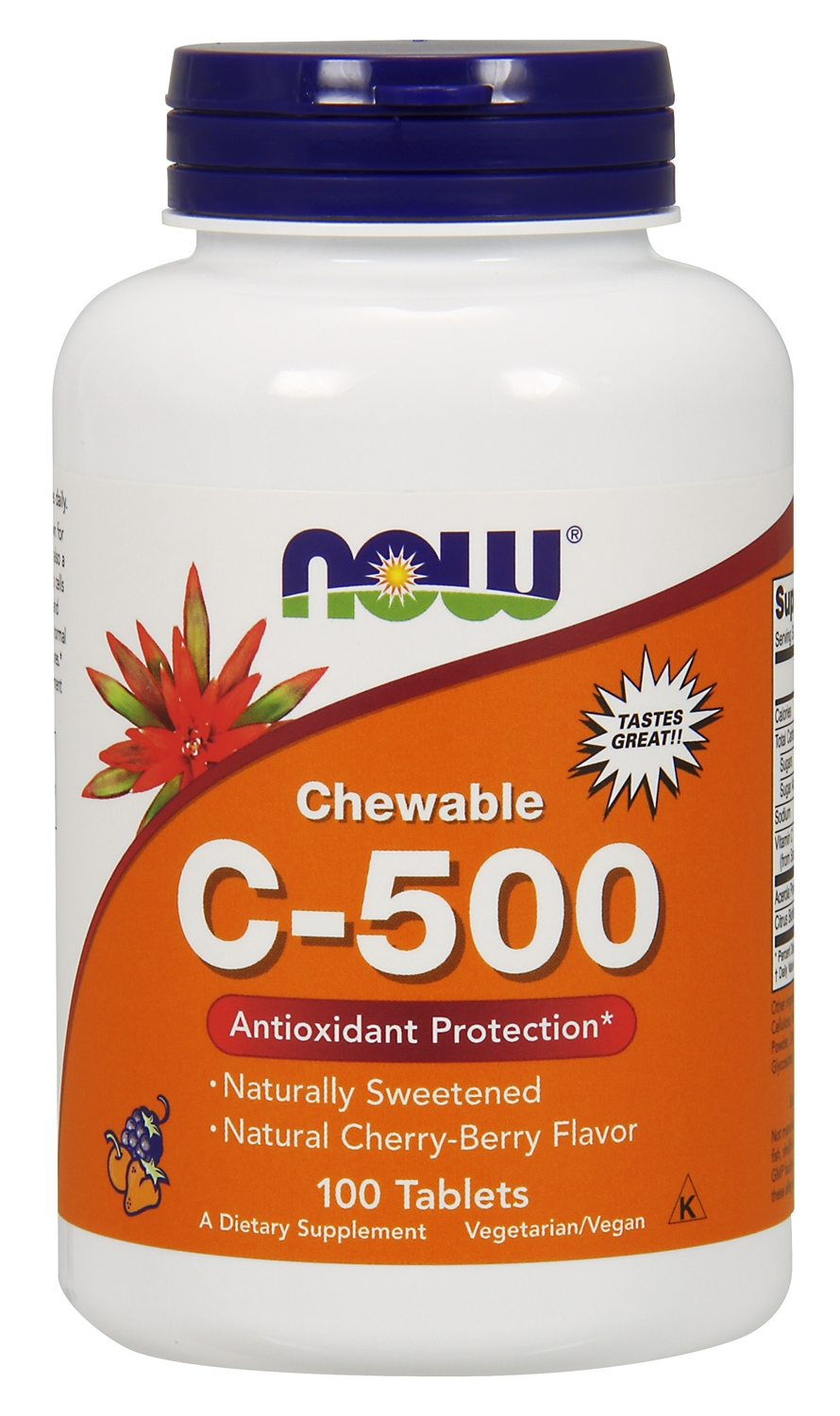 Chewable C-500 Natural Cherry-Berry Flavor 100 tabs by NOW
