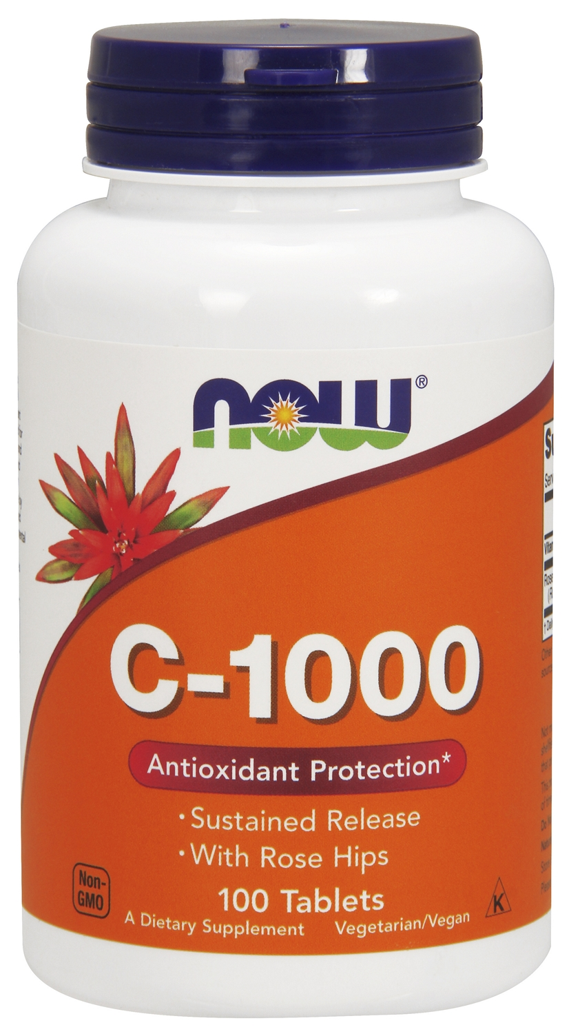C-1000 Sustained Release with Rose Hips 100 tabs by NOW Foods