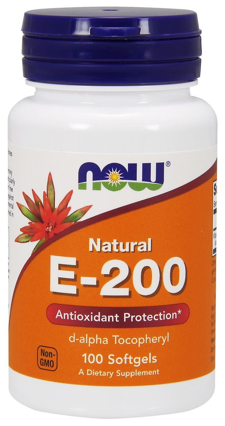 Vitamin E-200 d-Alpha Tocopheryl 100 sgels by NOW