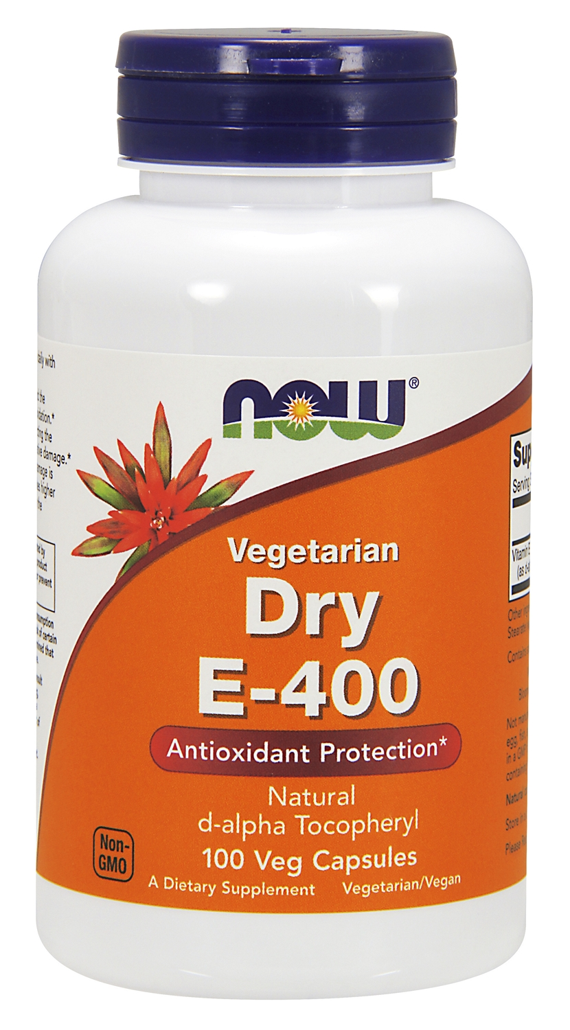 Vitamin E Dry 400 IU d-Alpha Succinate 100 caps by NOW