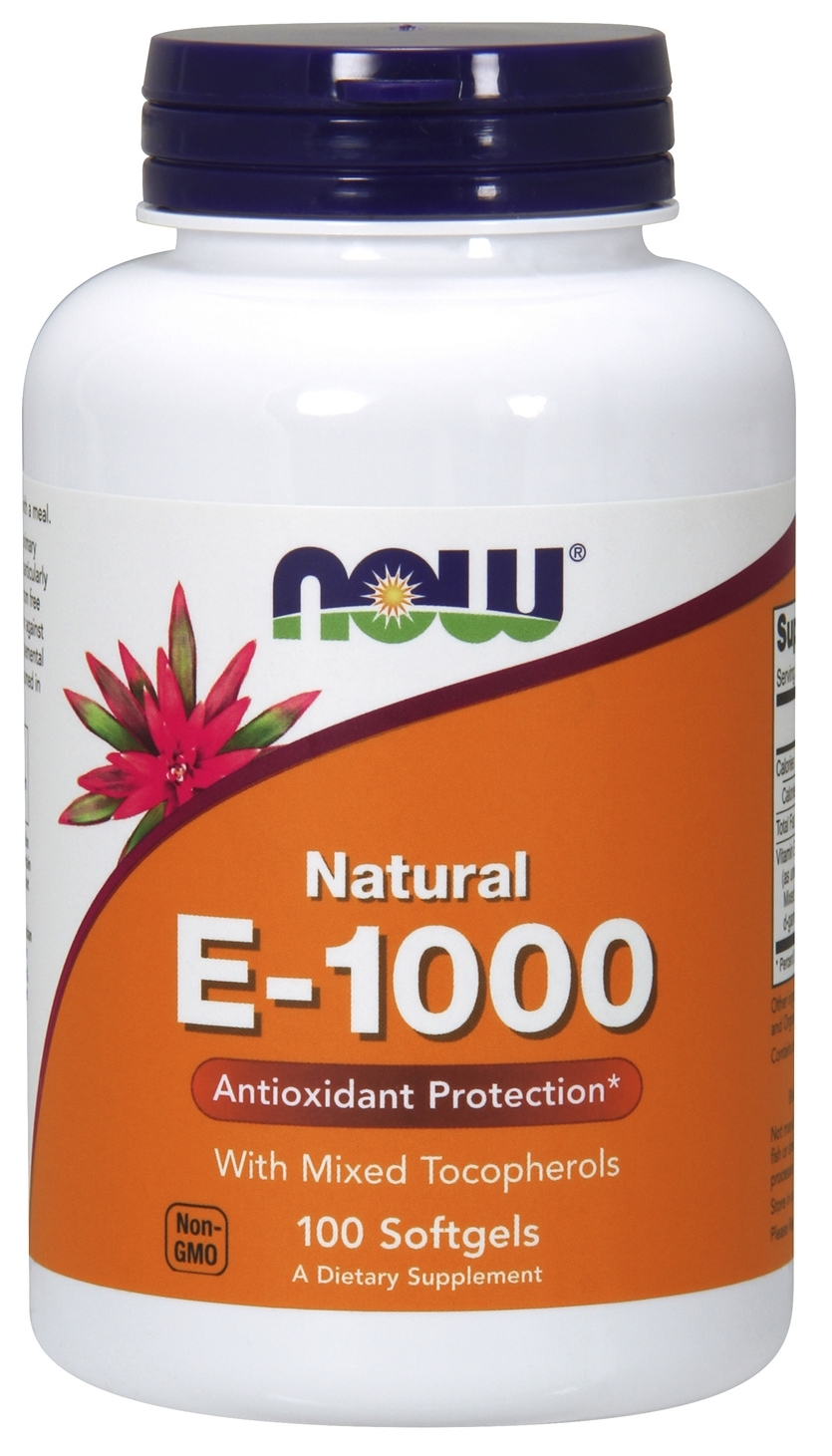 Vitamin E-1000 Mixed Tocopherols 100 sgels by NOW